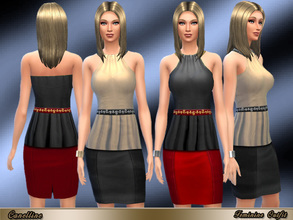 Sims 4 — Feminine Outfit in Two Colors by Canelline — Elegant and glamour outfit, in satin fabric with a refined belt. It