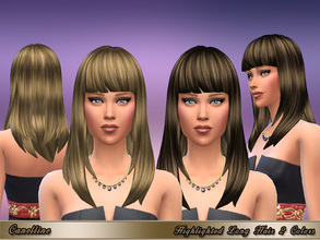 Sims 4 — Highlighted Long Hair 2 Variations by Canelline — Long straight hair with bangs, retexture and recolor in 2