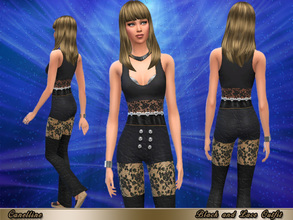 Sims 4 — Black and Lace Outfit by Canelline — A good way for your Sims to feel attractive is to wear this outfit. It's a