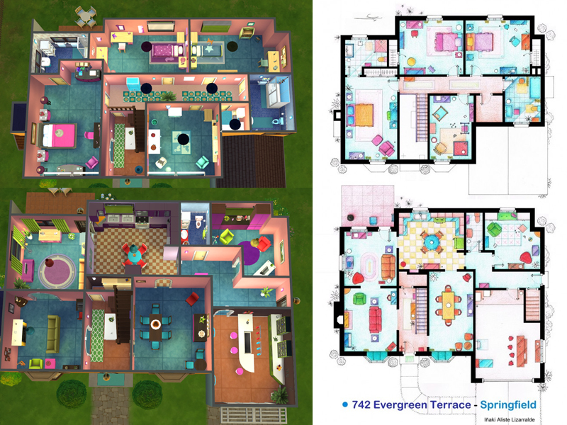 742 evergreen terrace floor plan lainchen s the simpsons house for 742 evergreen terrace springfield