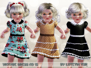 Sims 3 — Vintage Dress No 13 by Lutetia — A cute vintage inspired dress with ruffles, collar, underskirt and lace details