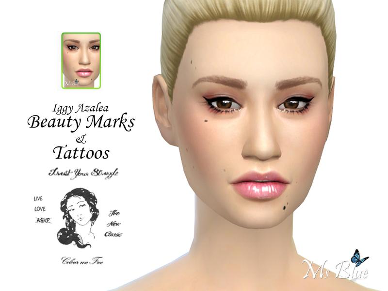 Ms blue 39 s iggy azalea beauty marks tattoos for Beauty mark tattoo