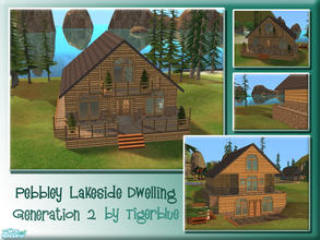 Sims 2 — Pebbley Lakeside Dwelling by Tigerblue — **REQUIRES BV ONLY** Lovely view of the lake from this warm cabin.