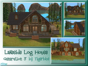 Sims 2 — Lakeside Log House by Tigerblue — *REQUIRES BV ONLY* Plenty of room for a family in this lovely lakeside house.