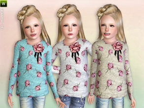 Sims 3 — Flower Printed Longsleeve Shirt by lillka — Flower-printed longsleeve shirt Everyday/Formal/Athletic/Sleepwear 3