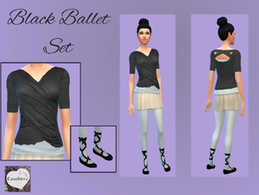 Sims 4 — Black Ballet Set by Cocobuzz — Ballet set of two items, ribbon wound black ballet flats and a lightweight black