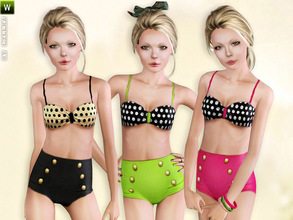 Sims 3 — (Teen) Vintage Polka Dot Bikini by lillka — This 2 part set includes vintage bikini top and panties for teen