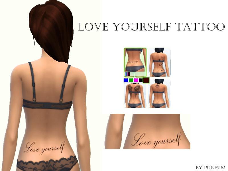 Puresim's Love yourself tattoo