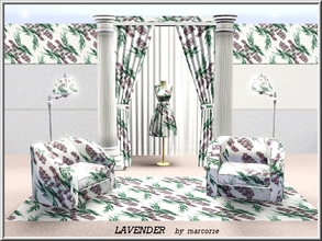 Sims 3 — Lavender_marcorse by marcorse — Fabric pattern: lavender sprigs on white