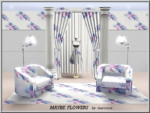 Sims 3 — Maybe Flowers_marcorse by marcorse — Abstract pattern: stylised flower and leaf design in pink and blue..