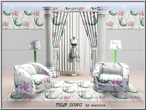 Sims 3 — Tulip Song_marcorse by marcorse — Themed pattern: tulip flowers, leaves and musical notes in a pretty Spring