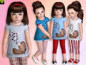 Sims 3 — My Teddy Bear - Outfit by lillka — Teddy Bear Dress with Leggings - Outfit Everyday/Formal/Sleepwear 4