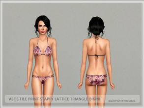Sims 3 — ASOS Tile Print Stappy Lattice Triangle Bikini by Serpentrogue — base game compatible swimwear category outfit