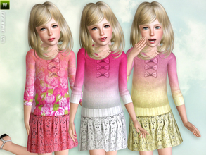 Sims 3 — Double-Color Knit Sweater with Skirt by lillka — Double-color knit sweater with skirt for girls Everyday/Formal