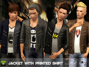 Sims 3 — Teen Jacket with Printed Shirt by Black_Lily — Jacket with Printed Shirt for teen guys Everyday Recolorable