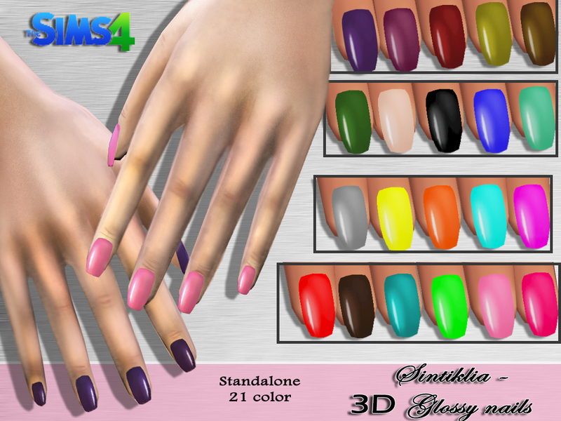 SintikliaSims\' Sintiklia - 3D Glossy Nails