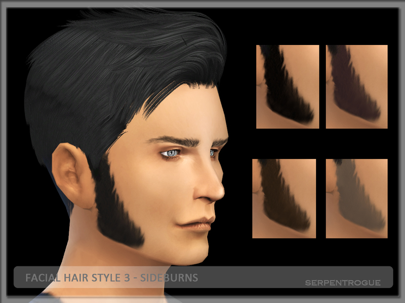 Serpentrogue's Facial Hair Style 03- Sideburns