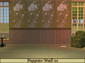 Sims 2 — Poppies-Olive Green Set - Wall 01 by allison731 — 1st wall design with one lath on the bottom. Specifications: