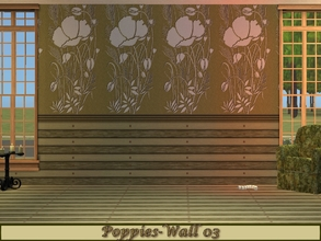 Sims 2 — Poppies-Olive Green Set - Wall 03 by allison731 — 3rd design with a panel of up to half the wall.