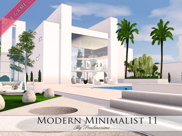Pralinesims 39 modern minimalist 11 for Sims 4 simple modern house