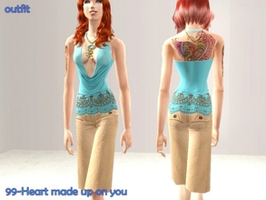 Sims 2 — Summer outfit - only outfit by Well_sims — Beautiful blue top with pants for your sim. Only outfit.