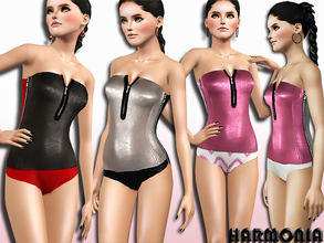 Sims 3 — Leather And Stretch-Jersey Swimsuit by Harmonia — Chic one-piece swimsuit features a decorative zippered accent