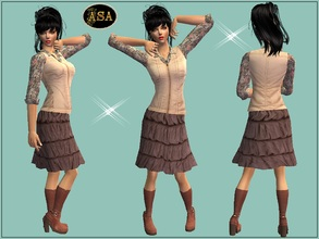 Sims 2 — ASA_Dress_237_AF by Gribko_Sveta — Blouse with a brown skirt and a waistcoat for women TS2