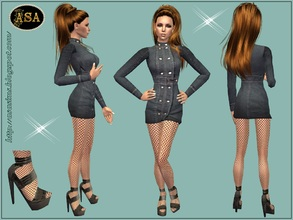 Sims 2 — ASA_Dress_245_AF by Gribko_Sveta — Jeans black dress for women TS2