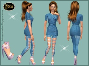 Sims 2 — ASA_Dress_246_AF by Gribko_Sveta — Jeans suit with pink barefoot persons for women TS2
