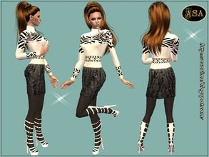 Sims 2 — ASA_Dress_247_AF by Gribko_Sveta — White sweater with a black skirt for women TS2