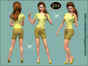 Sims 2 — ASA_Dress_249_AF by Gribko_Sveta — Yellow blouse with shorts for women TS2