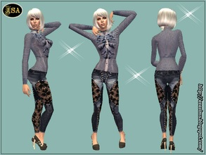 Sims 2 — ASA_Dress_257_AF by Gribko_Sveta — Blouse in peas with leather trousers for women TS2