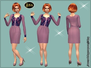 Sims 2 — ASA_Dress_258_AF by Gribko_Sveta — Pink dress with checkered inserts for women TS2