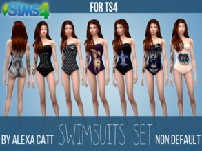 Sims 4 — Swimsuits set by Alexa_Catt — Non default swimsuit for TS4 Available on TS4 v1.2.16.10 (!) and newer