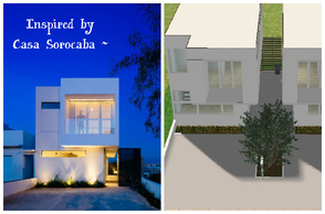 Sims 2 — Inspired by Casa Sorocaba by M4Mysterious2 — 2 houses (one each side), modern, simple & small. More fit for