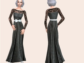 Sims 2 — Lace gown for elder ladies by grecadea2 — A gown that needs NO MESH for your elegant -and not so curvy- elder