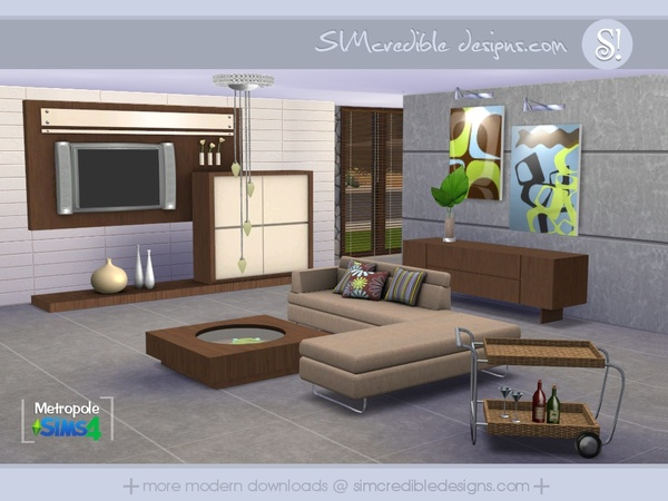 Simcredible 39 s metropole for Modern living room sims 4