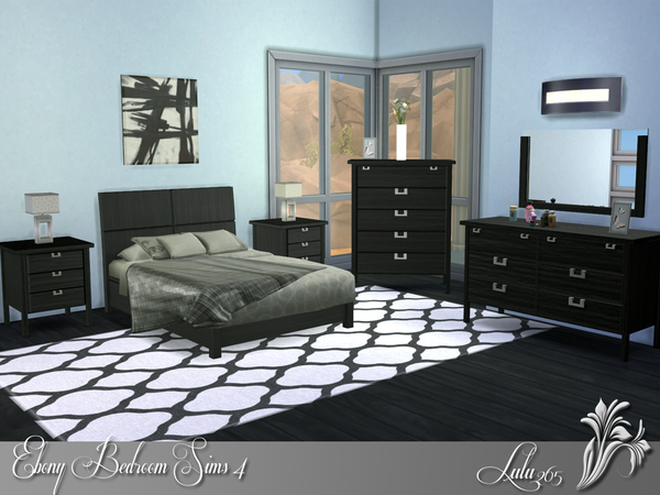 Lulu265 39 s ebony bedroom sims 4 for Sims 4 bedroom ideas