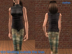 Sims 2 — Black sweater with pants- single clothes by Well_sims — Beautiful black sweater with pants for your sim.