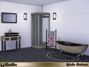 Sims 4 — Ophelia Bathroom by Canelline — A bathroom trend, neoclassical, in 2 variations. After a hard day's work, what