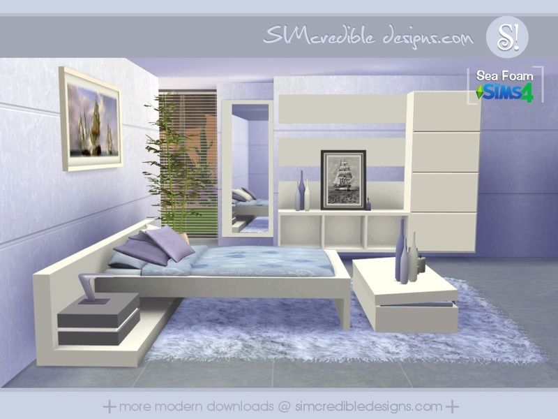 Simcredible 39 s sea foam for Bedroom designs sims 4