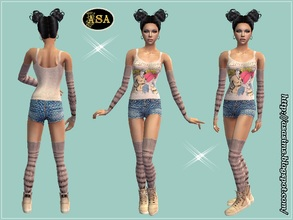 Sims 2 — ASA_Dress_269_AF by Gribko_Sveta — Vest with shorts, gaiters and oversleeves for women TS2