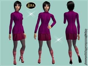 Sims 2 — ASA_Dress_270_AF by Gribko_Sveta — Crimson sweater with a skirt and boots on a heel for women TS2