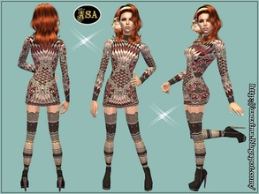 Sims 2 — ASA_Dress_273_AF by Gribko_Sveta — Knitted dress with gaiters for women TS2