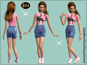 Sims 2 — ASA_Dress_274_AF by Gribko_Sveta — Pink vest and jeans shorts with the overestimated waist for women TS2
