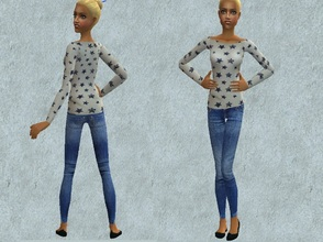 Sims 2 — Jeans and stars for teens by grecadea2 — Pair of jeans with a blouse for your sims casual clothing, inspired
