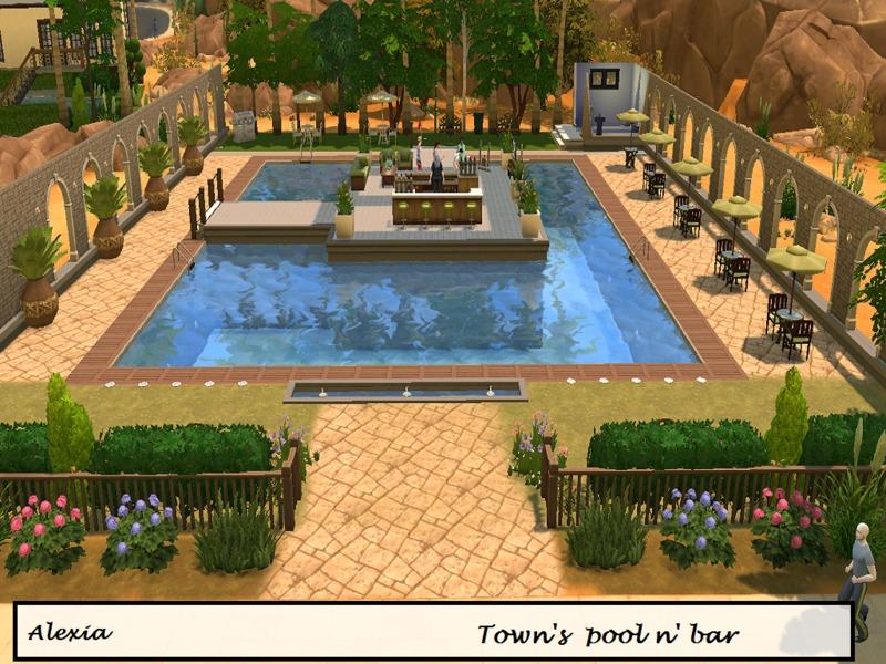 Alexiak123 39 s town 39 s pool n 39 bar for Sims 3 pool design
