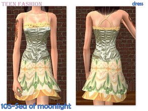 Sims 2 — 105-Sea of moonlight - only dress by Well_sims — Beautiful teen formal dress for your sim. -Only dress.