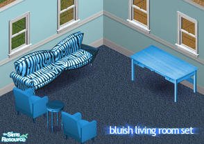 Sims 1 — Bluish Living Room Set by simmyfan2852 — A blue living room for your sims. Updated 10/9/2007; set zip should now