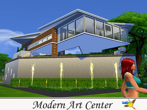 Sims 4 — Modern Art Center by evi — This Art Center is a modern art museum. Its exhibits include drawing, painting and
